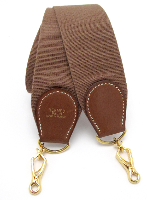 Hermes Canvas Strap in Natural Barenia Gold Hardware 1